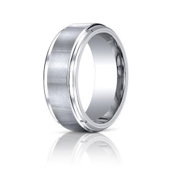 Cobalt Chrome Comfort Fit w  Satin Inlay 9 mm Wedding Band