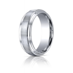 Cobalt Chrome Comfort Fit w  Satin Inlay 8 mm Wedding Band