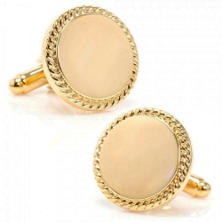 Gold Plated 24K  Round  Rope Frame  Engraveable Cufflinks