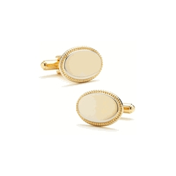 Gold Tone  Oval  Rope Frame  Engraveable Cufflinks