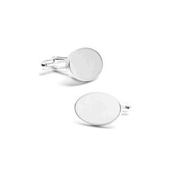 Sterling Silver Oval  Infinity Edge  Engraveable Cufflinks