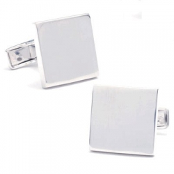 Sterling Silver Square  Infinity Edge  Engraveable Cufflinks
