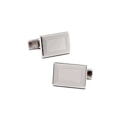 Sterling Silver Rectangular Etched Infinity Edge Engraveable Cufflinks