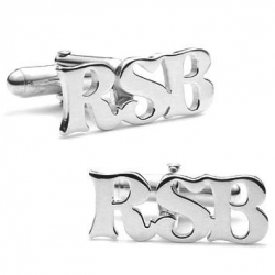 Sterling Silver Personalized  Cutout Initial  Engraveable Cufflinks