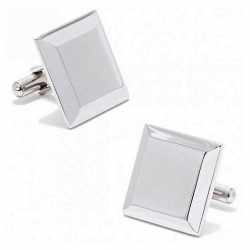 Stainless Steel Square  Beveled Edge  Engraveable Cufflinks