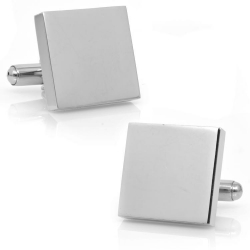 Stainless Steel  Engraveable  Block  Cufflinks