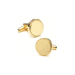 Two Tone  Round  Engraveable Cufflinks