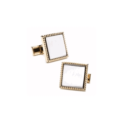 Two Tone Square  Rope Frame  Engraveable Cufflinks