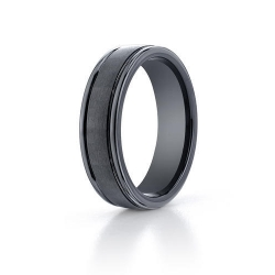Black Ceramic  Seranite  Comfort Fit 6mm Wedding Band