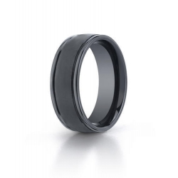Black Ceramic  Seranite  Comfort Fit 8mm Wedding Band