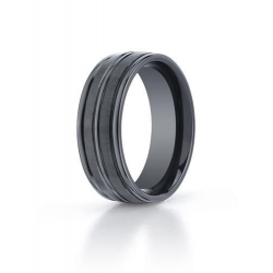 Black Ceramic  Seranite  Ridged Edge Comfort Fit 8mm Wedding Band