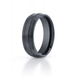 Black Ceramic  Seranite  Comfort Fit 7mm Wedding Band