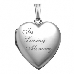 14K White Gold  In Loving Memory  Locket