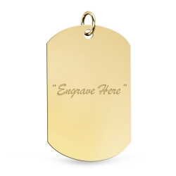 14K Yellow Gold Dog Tag Pendant