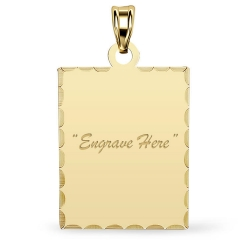 14K Yellow Gold Petite Rectangle with Diamond Cut Pendant