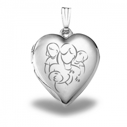 Sterling Silver  Mom with Daughter and Two Sons  Locket
