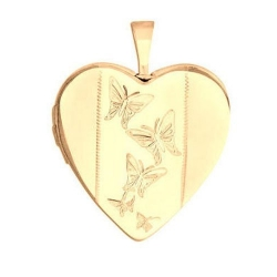 Solid 14K Yellow Gold  Butterfly  Heart  Locket