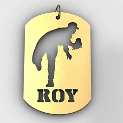 Personalized Baseball Pitcher Name Dog Tag Cut Out Pendant