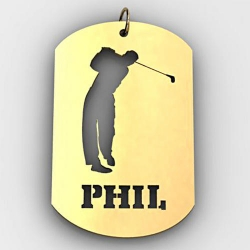 Personalized Male Golfer Name Dog Tag Cut Out Pendant