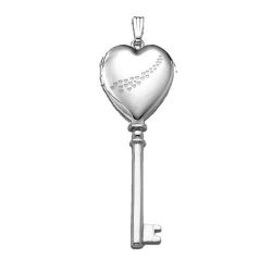 14k White Gold  Cascade of Hearts  KEY Heart Locket