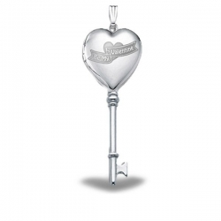 Sterling Silver  Be My Valentine  Heart KEY Locket