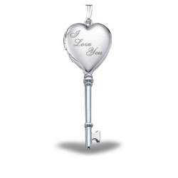 Sterling Silver  I Love You  Heart KEY Locket