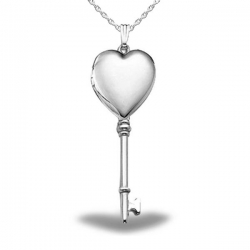 Sterling Silver Genuine Plain KEY Heart Locket