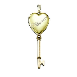Solid 14K Yellow Gold Small Heart  Cascade of Hearts  KEY Locket
