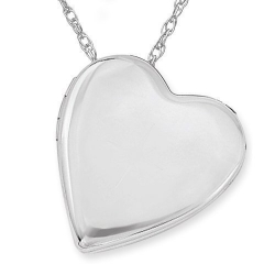 Sterling Silver Side Dangle Plain Heart Locket