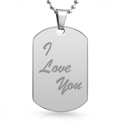 Stainless Steel Engraveable XL Dog Tag Pendant