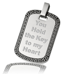 Stainless Steel Laser Etched Greek Key Dog Tag Pendant