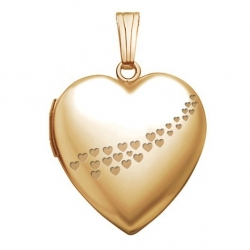 Solid 14K Yellow Gold  Sweetheart  with Cascade of Hearts Locket