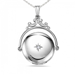 Sterling Silver Round Swivel Picture Locket