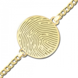 Round Thumbprint Footprint Engraved Bracelet w  Curb Chain