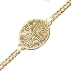 Oval Fingerprint Footprint Engraved Bracelet w  Curb Chain