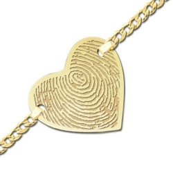 Single Heart Fingerprint Footprint Engraved Bracelet w  Curb Chain