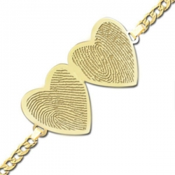 Double Hearts Fingerprint Footprint Engraved Bracelet w  Curb Chain