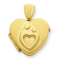 Solid 14k Yellow Gold Mother Child Locket