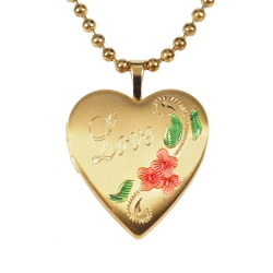14K Gold Filled Yellow  LOVE  Heart Locket w  Enamel
