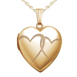 14K Gold Filled Yellow  Interlocking Hearts  Heart Locket