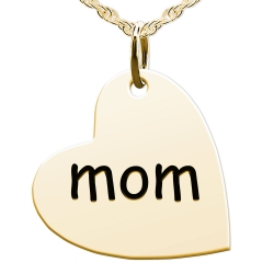 Mom Sideways Heart Shaped Charm