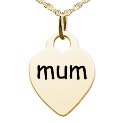 Mum Heart Shaped Charm