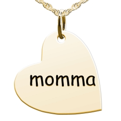 Momma Sideways Heart Shaped Charm