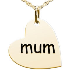 Mum Sideways Heart Shaped Charm