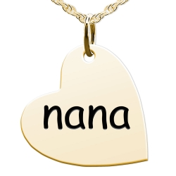 Nana Sideways Heart Shaped Charm