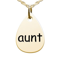 Aunt  Teardrop Shaped Charm