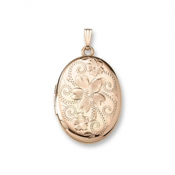 Solid 14K Yellow Gold Oval Flowered Locket