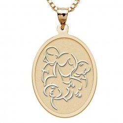 Mother with Daughter and Two Sons   Oval Pendant