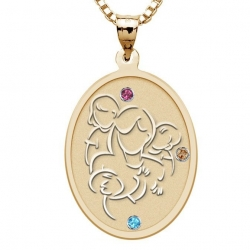 Mother with Daughter and Two Sons with Birthstones   Oval Pendant