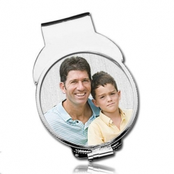 Sterling Silver Photo Engraved   Quarter Size  Money Clip